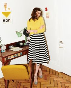 Boden stripe midi skirt