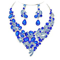 Royal Blue Aqua Rhinestone Crystal Cut Out Design Cluster Statement Earrings Silver Necklace Set by Affordable Wedding Jewelry -- Awesome products selected by Anna Churchill