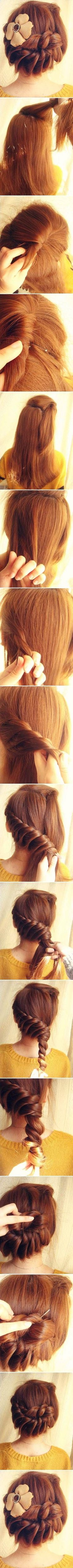 DIY hair Up-do...I think this would be cutie for certain functions