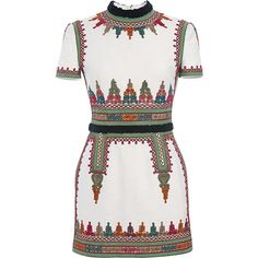 Valentino Cotton Canvas Short Sleeve Dress With Embroidery ($6,690) ❤ liked on Polyvore featuring dresses, vestidos, valentino, avorio, short sleeve dress, colorful dresses, multi colored dress, mini skirt dresses and multi color dress