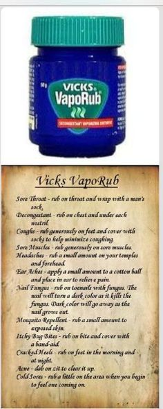 Vick's VapoRub - WWII Tips and Tricks. Must be where my grandma got her wisdom on the wonders of Vicks! My mom also thought Vicks could fix just about anything evidently she was lollol. Vicks Vaporub, Vicks Rub, Vicks Vapor Rub Uses, Vapo Rub Uses, Baby Vicks Vapor Rub, Health And Beauty Tips, Health Tips, Kids Health, Women Health