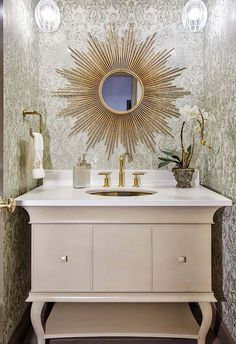 Statement Wall Paper Design In This Powder Room