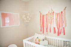 Simple wall art that makes a big impact: ribbon garland! #nursery #wallart