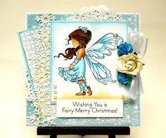 Wee Stamp Silver Fairy Christmas Card by TheresabyDesign on Etsy