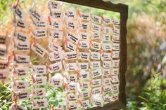 seating chart made from chicken wire + wooden frame