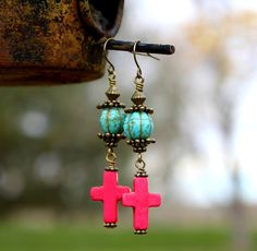 Fun Hot Pink Cross & Turquoise Magnesite Melon by CreativeCutes