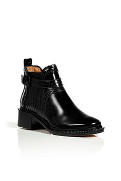 Black Glazed Leather Ankle Boots by GIVENCHY