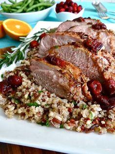 November 2013 Newsletter: Holiday Cranberry-Balsamic Pork Tenderloin - Janet and Greta Podleski Pork Tenderloin Recipes, Pork Recipes, Cooking Recipes, Pork Loin, Pork Roast, Healthy Cooking, Healthy Eating, Healthy Recipes, Yummy Recipes