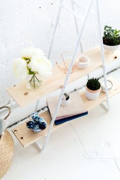 Make this simple shelving out of accessible materials you can buy and put together easily and without power tools!