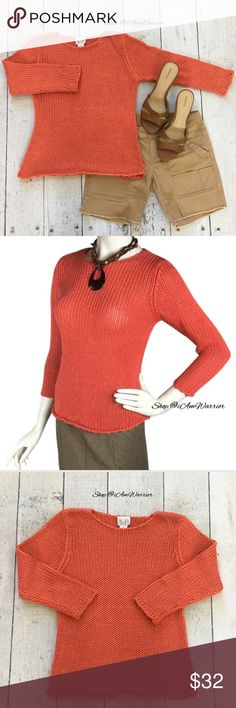 Ann Taylor Loft orange sweater with rolled hem Super cute orange open weave sweater has 3/4 sleeves and rolled bottom hem. Excellent condition. Smoke free home. ❗Please read my recently updated 'about me and my closet' listing for pricing/policies. LOFT Sweaters Crew & Scoop Necks
