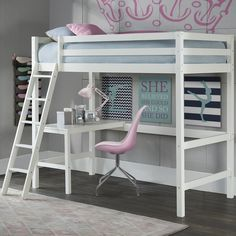 Strength, style and substance are the foundations for the pride their feel in this Twin Bunk with Study Loft. When consulted design experts feel this study loft's simplistic style and clean lines make it extremely versatile. Loft Beds For Teens, Bed For Girls Room, Teen Girl Bedrooms, Girl Room, Cute Bedroom Ideas, Girl Bedroom Designs, Awesome Bedrooms, Modern Bedroom Decor, Bed Ideas