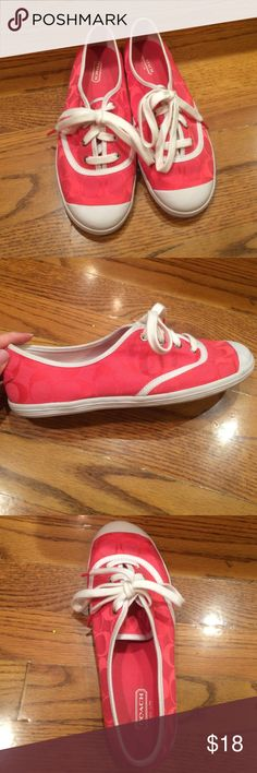 Coral Coach sneaker These cute shoes are in great condition except for a couple scuff marks on the right shoe which are pictured (but they are barely visible) very comfortable!! Worn a few times. I'm typically a size 8 and these shoes fit me. Coach Shoes Sneakers
