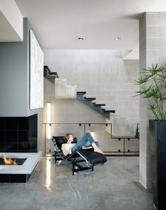 moderne Edelstahl Stufen Beton originelles Konzept moderne Innenarchitektur
