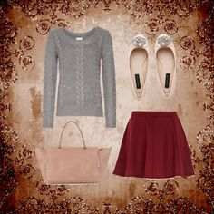 like the skater skirt, sweater not so much.  Grey and red? no thank you, shoes just fine!