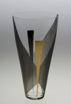 Zdena Strobachova, 1960, Glass vase with colorful abstract decor, H: 26,0 cm, Prague, Czechoslovakia (property of Moravian Gallery in Brno)