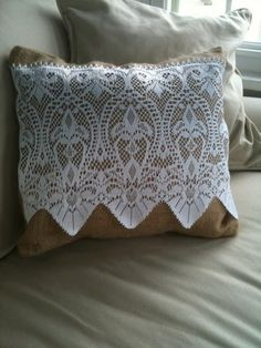 burlap and lace pillow cover