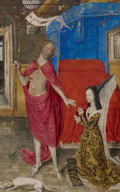 Margaret of York in dialogue with the Resurrected Christ ~ Nicolas Finet, Dialogue de la duchesse de Bourgogne à Jésus Christ (Brussels, c.1468).