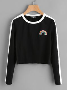 Shop Rainbow Patch Contrast Panel Crop Tee online. SheIn offers Rainbow Patch Contrast Panel Crop Tee & more to fit your fashionable needs.