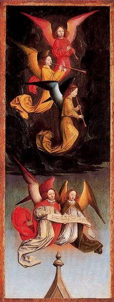 A Choir of Angels: From Left Hand Shutter, Simon Marmion, National Gallery London Renaissance Paintings, Renaissance Art, Medieval Manuscript, Medieval Art, Entertaining Angels, Angel Artwork, Statues, I Believe In Angels, Angels Among Us