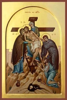 The Descent from the Cross or Deposition of Christ Religious Pictures, Jesus Pictures, Religious Icons, Religious Art, Orthodox Catholic, Catholic Art, Orthodox Christianity, Byzantine Icons, Byzantine Art