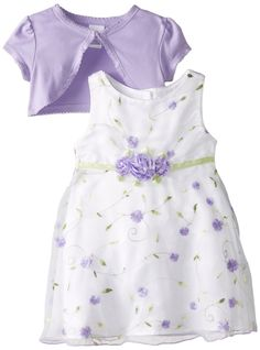 Amazon.com: Youngland Baby Girls' Purple Schiffli Dress with Knit Shrug: Clothing