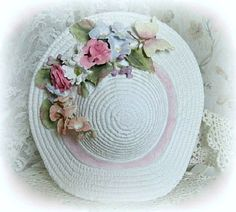 Decorative White Ceramic Flower Hat, Shabby Chic Décor, Wall or Table | AFloralAffair - Floral on ArtFire