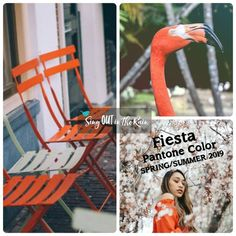 Fiesta is an orange red designated by Pantone as one of the Spring/Summer 2019 Color Trends. #pantone #colortrends