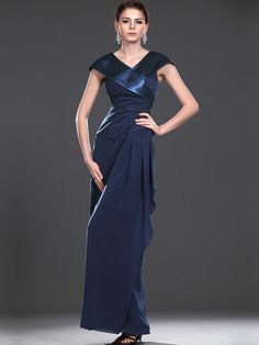 V Neck Satin and Chiffon Sheath Mother of the Bride Dress