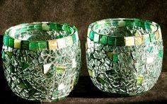 shining ouro artesanato em mosaico de vidro suporte de vela