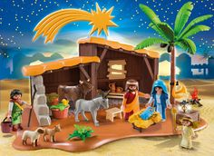 PLAYMOBIL Nativity Stable with Manger Play Set Christmas Toy Mary Joseph Baby…