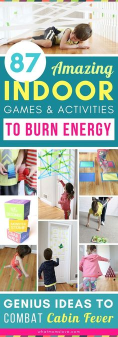 These fun and easy indoor activities for kids are genius! Tons of DIY creative games and gross motor activities you can do at home in the winter on snow days or spring and summer on hot or rainy days - perfect for combatting cabin fever! Gross Motor Activities, Rainy Day Activities, Summer Activities, Preschool Activities, Summer Games, Nanny Activities, Homeschool Kindergarten, Cabin Fever, Energy Kids