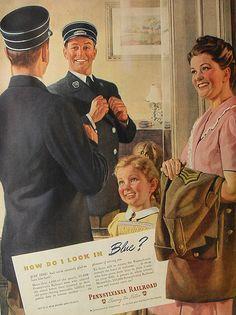1940s Pennsylvania Railroad Train Conductor Uniform vintage illustration advertisement