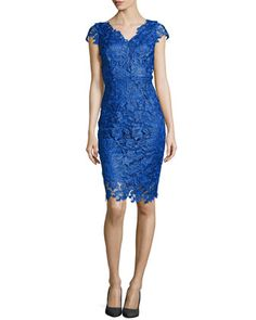 Sleeveless Venise Lace Dress, Island  by Laundry by Shelli Segal at Neiman Marcus.
