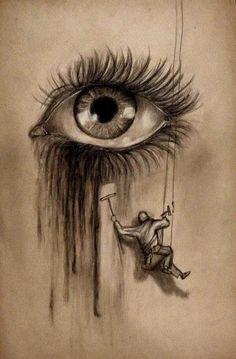 Cool Eye Drawings, Sad Drawings, Dark Art Drawings, Art Drawings Sketches Simple, Pencil Art Drawings, Drawing Eyes, Cool Sketches, Crying Eye Drawing, Angel Drawing