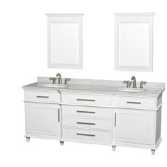 Wyndham Collection Berkeley Double Vanity Set Top Finish: White Carrera, Base Finish: White