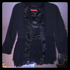 Black blazer with ruffles and lace Black blazer with ruffles and lace. Cute on. Size small from boutique Boutique Jackets & Coats Blazers