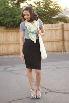 Grey T + Black Pencil Skirt + Scarf = Perfect Business Casual