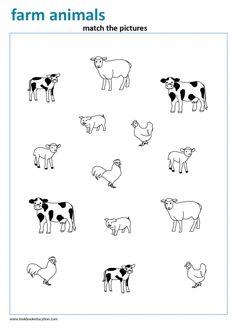 Match the farm animals. Preschool and Kindergarten worksheet. Animal Worksheets, Animal Activities, Book Activities, Preschool Activities, Zoo Preschool, Kindergarten Worksheets, Worksheets For Kids, Farm Animals For Kids, Animal Puzzle