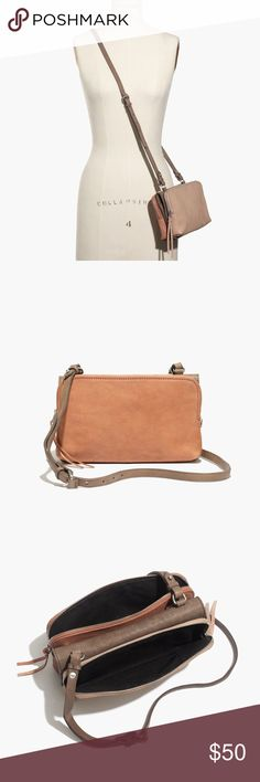 Madewell Colorblock Leather Crossbody Pink Taupe Broken Zipper which does not close but might be able to be fixed - Real Leather - PRICES FIRM Madewell Bags Crossbody Bags