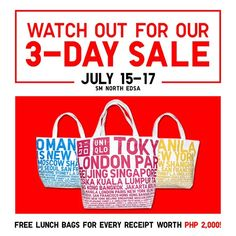Check out UNIQLO 3-DAY SALE at SM City North EDSA! Enjoy great discounts on  fab selections until July 17, 2016. SM Advantage, SM Prestige, and BDO  Rewards ...