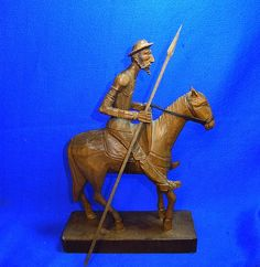 Vintage Spain OURO Artesania Don Quichote Mounted Wood Carved Figure #BM