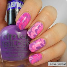 Painted Fingertips   Pink and purple water marble