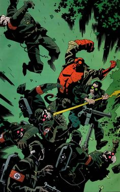 Hellboy and Starman fighting Nazis by Mike Mignola