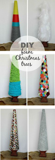 DIY foam Christmas trees are fun and easy to make. This is a great project to do with kids. #AlexiaHolidays