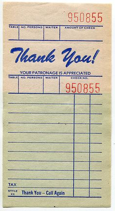 "Retro I really like to find different ways to say ""Thank you!"" I like this one - a retro guest check - the kind that you would have found at tha. Éphémères Vintage, Papel Vintage, Images Vintage, Vintage Labels, Vintage Ephemera, Vintage Paper, Vintage Prints, Junk Journal, Journal Cards"