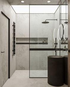 Modern Rustic Decor, Modern Bathroom Decor, Bathroom Interior Design, Wc Design, Toilet Design, House Design, Small Shower Room, Small Showers, Modern Tropical House