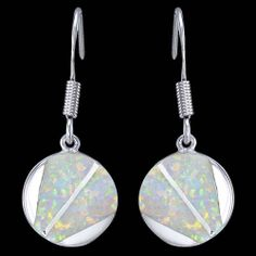 Silver earrings, opal, round Silver earrings, Ag 925/1000 - sterling silver. With opal. Dangle earrings. Rhodium-plated. Graceful and spectacular opal earrings. Stunning colourfulness of opal highlighting two silver stripes. Diameter of the circle approx. 12x2mm excluding enclosure. Height of enclosure is approx. 17mm. Price per pair.