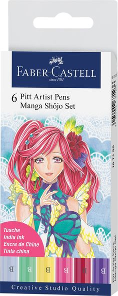 """An illustration set ideal for Manga cartooning. Pitt Artist Pens® offer odorless, permanent and waterproof inks that will not bleed through paper. The pigmented India inks are lightfast, acid-free and pH Neutral. They work beautifully on all types of papers and canvas, permanent on porous surfaces. Ideal for sketches and studies in ink. Convenient wallet provides storage for """"on the go"""" artists. Also available individually or in assorted sets. Store horizontally when not in use. Pitt Artist Pens, Tinta China, India Ink, Drawing Practice, Artist Life, Urban Sketching, Faber Castell, Creative Studio, Ph"""