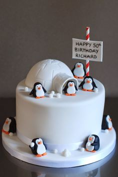 Best Photo of Penguin Birthday Cake Penguin Birthday Cake Penguin Birthday Cake Archives Afternoon Crumbs You are in the right place about pretty Birthday Cake Here we offer yo Birthday Cake 30, Christmas Birthday Cake, Penguin Birthday, Penguin Party, Friends Birthday Cake, Christmas Cake Designs, Christmas Cake Decorations, Christmas Desserts, Christmas Baking