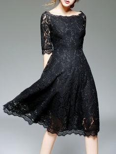 3a0094351cf Take a look at this Coeur de Vague Black Lace Fit   Flare Dress today!